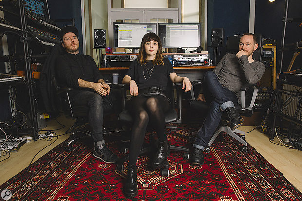 Chvrches: from left, Martin Doherty, Lauren Mayberry and Iain Cook in Alucard Studios, where both of their albums were recorded.