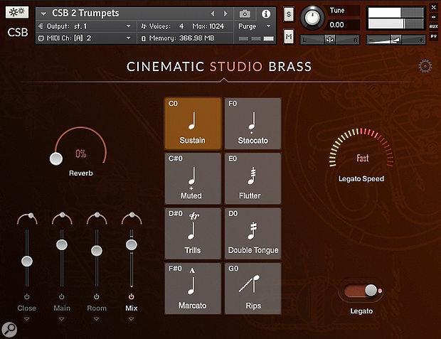 The Cinematic Studio Series interface is elegant in its simplicity, and very easy to learn.