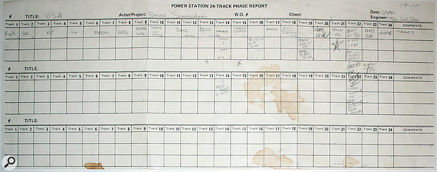 The track sheet from asafety copy of 'Born In The USA'.