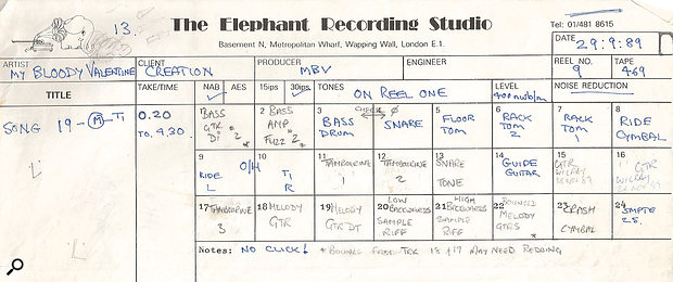 The track sheet for 'Only Shallow'. Tracks written in blue were recorded with Harold Burgon at Elephant; everything written in pencil was with Alan Moulder at Falconer Studios in Kentish Town. The two guitars on tracks 15 and 16 were recorded by the band.