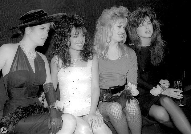 The Bangles. Left to right: Vicki Peterson, Susanna Hoffs, Debbi Peterson, Michael Steele.