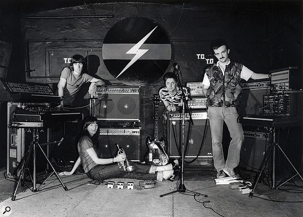 The classic 'Roland' promo shot at Throbbing Gristle's studio. Originally sent to Roland to see if TG could get a  sponsorship deal. They said no... Left to right: Chris Carter, Cosey Fanni Tutti, Genesis P–Orridge, Peter Christopherson.
