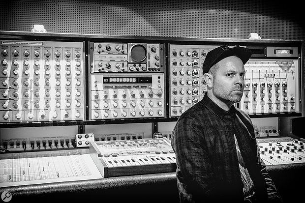 Josh Davis today, in front of an impressive EMS Synthi 100 system.