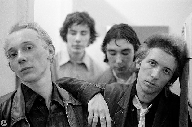 Buzzcocks, early 1977. From left to right: Howard Devoto, John Maher, Steve Diggle, Pete Shelley.