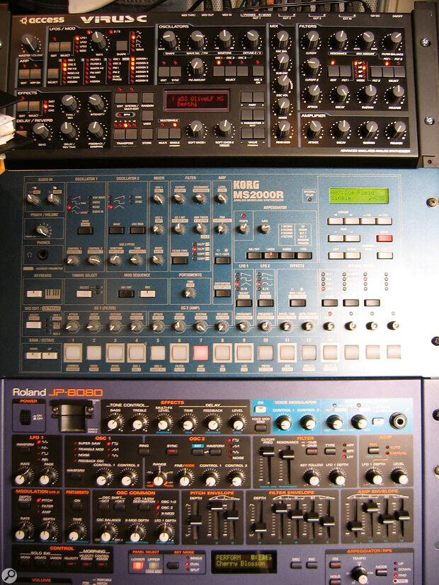 An Access Virus C, Korg MS2000R and the trusty Roland JP‑8080, the first patch of which gave 'Sandstorm' its name.