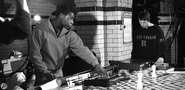 Gerald Simpson playing live with 808 State's Graham Massey at Manchester's Victoria Baths, 1988.