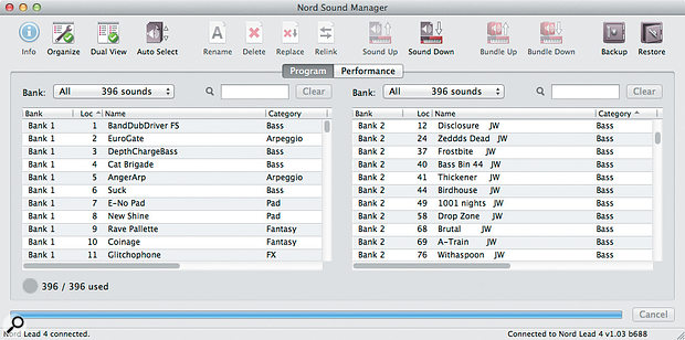 Nord Sound Manager software.