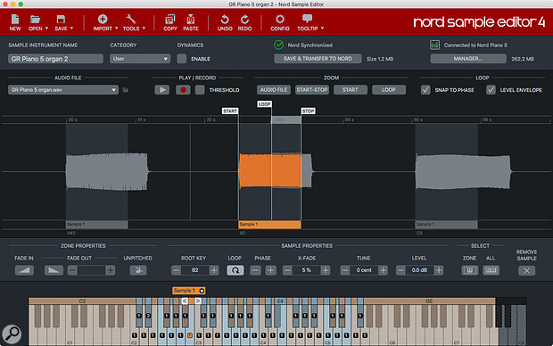 The updated Nord Sample Editor features improved sample import and pitch‑detection function.