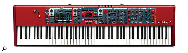 The Nord Stage 3 88 sports the company's ubiquitous red livery and measures 1287 x 118 x 334mm.