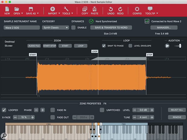Nord's Sample Editor application creates and transfers user sample sets to the Wave2 onboard memory.