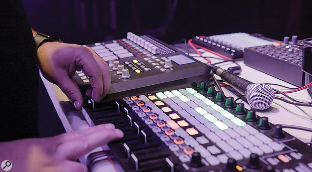 For live arrangement tweaking, Seth uses an Akai APC40 MkII and an MPD32.