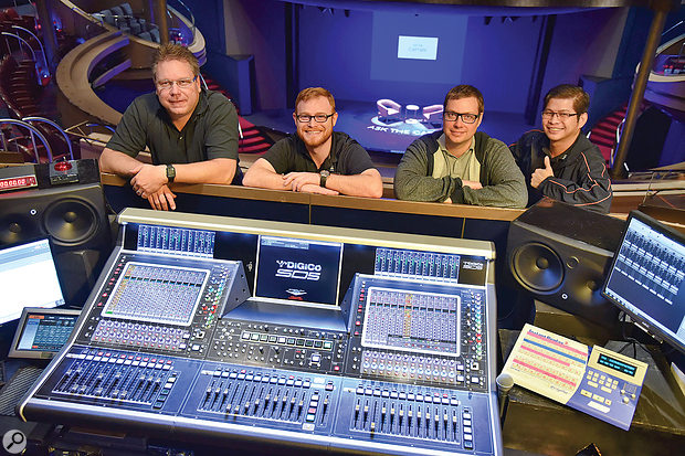 From left: Nautilus Entertainment Design's system designer Alan Edwards, Holland America FOH engineer Daniel Rasmus, Holland America audio manager Andrew Gautreau, and stage manager Jerald Millena.