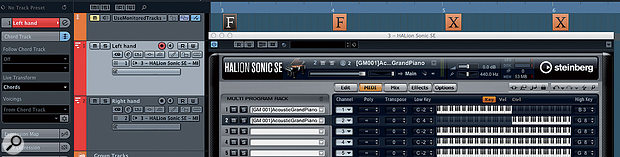 For full-on left-hand/right-hand faking, creating two MIDI tracks and akeyboard split within Halion Sonic SE will get the job done.