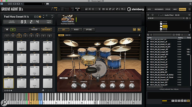 Amongst other enhancements, Groove Agent SE5 includes an impressive new acoustic drum set called The Kit.