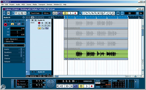 Four takes of the same vocal line displayed as lanes within a single audio track. Note that the last take is displayed at the bottom of the stack and is therefore the one that is currently heard on playback.
