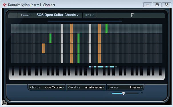Chorder configured for open chord voicings on aguitar: the notes used in the four layers for the C-major chord are shown.