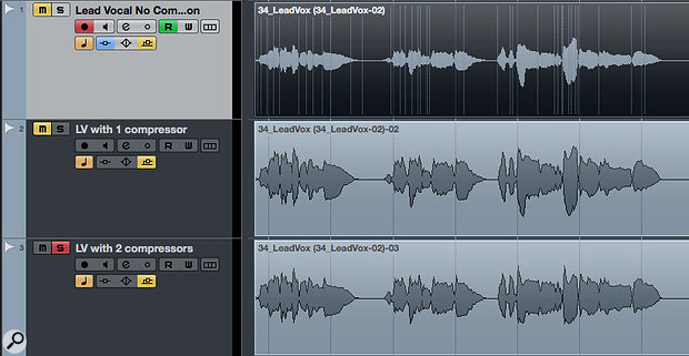 The unprocessed vocal (top), with the first compressor applied (middle), and with both compressors applied (bottom).