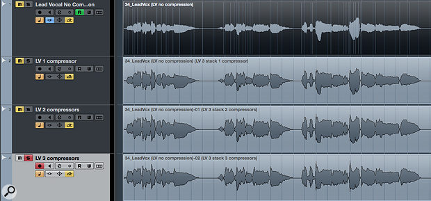 Again, the unprocessed vocal is at the top, with each subsequent waveform illustrating the effect of each stage of compression. The slow attack used in the third compressor (bottom) deliberately re-introduces some dynamics in a very controlled way.
