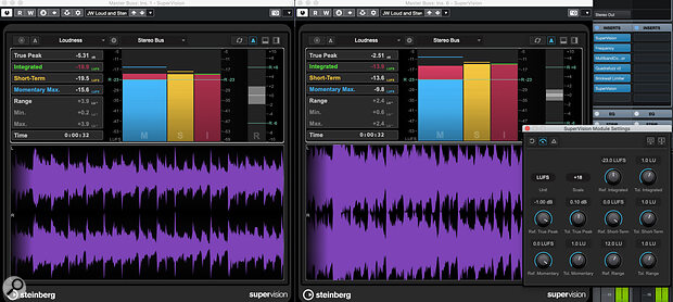 SuperVision's Loudness and Wavescope modules, with instances placed before and after the master bus processing chain (top‑right). The visual feedback about the changes in the loudness and waveform can help to inform your processing decisions.