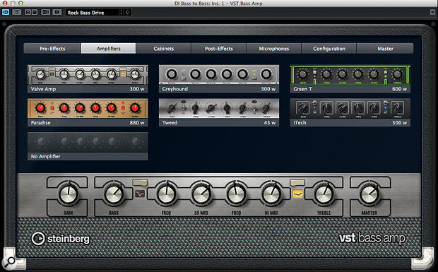 The new VST Bass Amp offers six different models and plenty of effects and processing options but not, unfortunately, an 'octave up' facility in its Octaver effect.