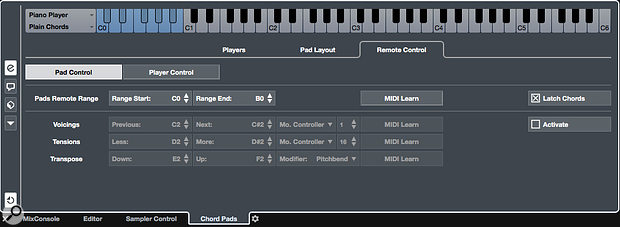 Screen 3: The Pads Remote Range should be set so it doesn't clash with your GA SE pad triggers. You can also engage the Latch Chords option to reduce the chance of broken fingers!