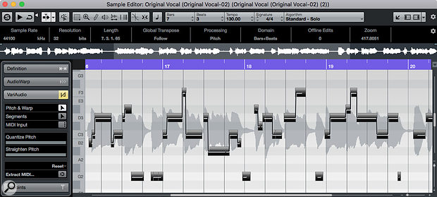 VariAudio can perform extreme pitch correction, rewrite the melody, and extract MIDI from an audio vocal melody.