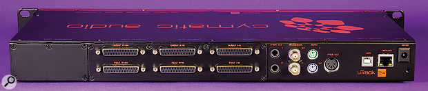 Apart from the headphone output on the front and the two quarter–inch jack monitor outputs, all of the uTrack 24's I/O are presented on eight–channel D–Sub sockets.