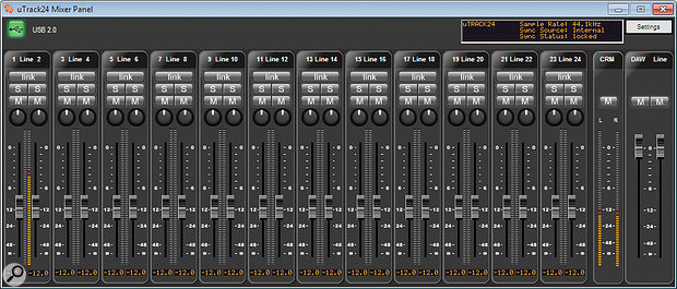 When used as an interface, the uTrack 24's internal DSP mixer can be used to create a low–latency monitor mix, via this graphic mixer interface.