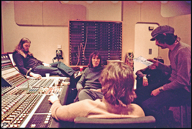 Pink Floyd in the control room of Abbey Road's Studio 3 with Brian Humhpries (back to camera), during the Wish You Were Here sessions, 1975.