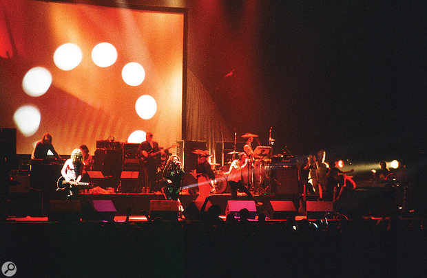 Primal Scream playing a  benefit concert for miners in Sheffield, 1992.