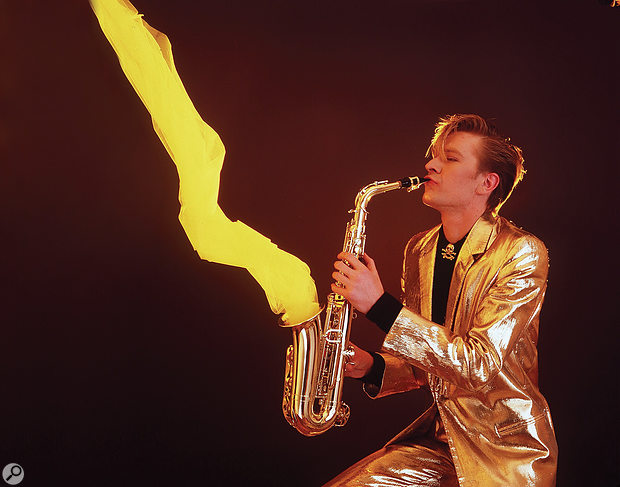 Martin Fry with gold lamé suit and magic sax.