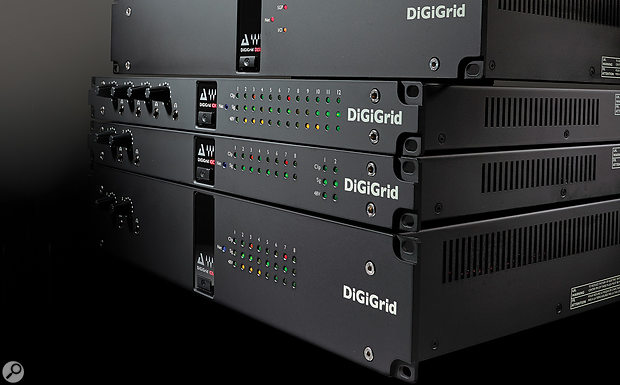 The five rackmounting members of the Digigrid hardware interface range are, from top, the DLI and DLS, which are specifically designed to connect with Pro Tools HDX systems; the versatile IOX which, with its plentiful analogue I/O, is intended to live in a  live room; the IOC, which offers mainly line–level and digital I/O; and the IOS, which includes a  built–in SoundGrid server and a  broad palette of connection options.