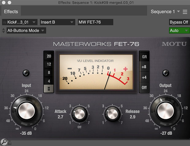 The MW FET‑76 emulates the performance and controls of the hardware 1176.