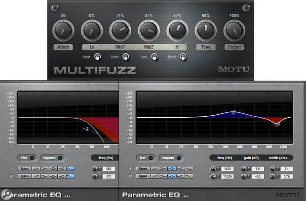 Screen 1: MultiFuzz recreates my old QuadraFuzz. It's flexible in its own right, but EQ can make it even more so.