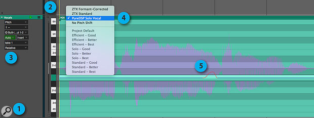 Screen1: Preparing atrack for pitch-correction and editing. In Relative pitch mode (shown here), the single bar and the pitch line within it represent the current pitch of the vocals. Draw upwards with the Pencil tool to raise the pitch and downwards to lower it.