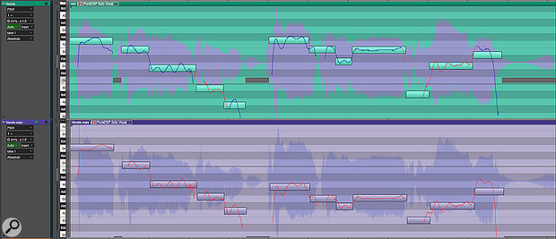 Screen3: With the pitch segments from Screen1 cleaned up, the original vocal track (top) has been tweaked and then harmonised in the second track. Notice the first note is transposed up afifth from F3 to D4, and adjusted closer to the correct note to make the interval sound more in tune.