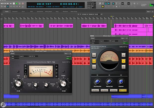 DP offers two vintage compressor plug‑ins, MasterWorks FET-76 and Leveler, both excellent for treating vocal tracks.