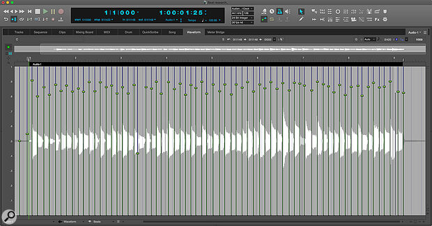 The Beats layer in DP10's Waveform Editor.