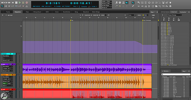When Stretch is enabled on audio tracks, you can add tempo changes in the Conductor Track, such as the ritardando at the end of this song.