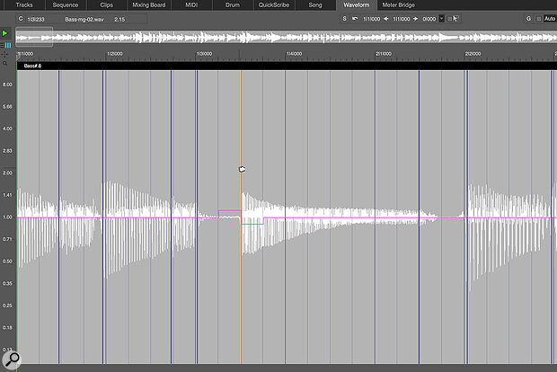 Using the Stretch Edit Layer, you can manually drag audio in time to make changes or corrections to the rhythm.