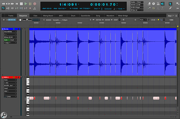 The MIDI notes in the track here were extracted from the drum track above them using the Copy Beats as MIDI command.
