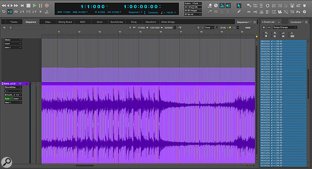 The tempos on the right were calculated by DP to create a tempo grid for this song, which was recorded without a click.