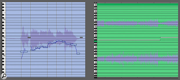 Screen 1: Absolute mode (left) is for tuning audio, and Relative mode is for transposing it.
