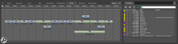 Screen 2: A piece of music can be built by dragging component Sequences and Songs from the Chunks list (right) into the Song window (left). Sequence Chunks are shown in blue; Song Chunks are green. The Song window timeline is not linear: instead, columns are prescribed by each Chunk's start and end times. In this simple example, most chunks are two, four, eight or 16 bars long, except the 'Extra perc/riffing' Song Chunk, which is 32 bars. To rearrange the composition, simply drag the Chunks, or Option‑drag to duplicate a chunk.