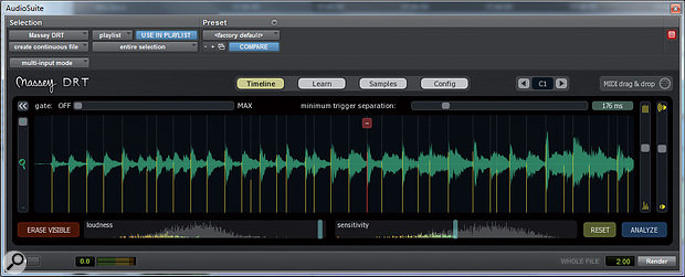 DRT in action. Here Ihave Analyzed ashort section of adrum recording and set the Loudness and Sensitivity sliders so as to exclude false triggers. The next step would be to hit Preview or Render.