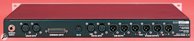 All of the I/O is tidily located on the rear of the D‑box, and include a space‑saving D‑sub connector for the summing‑bus inputs.