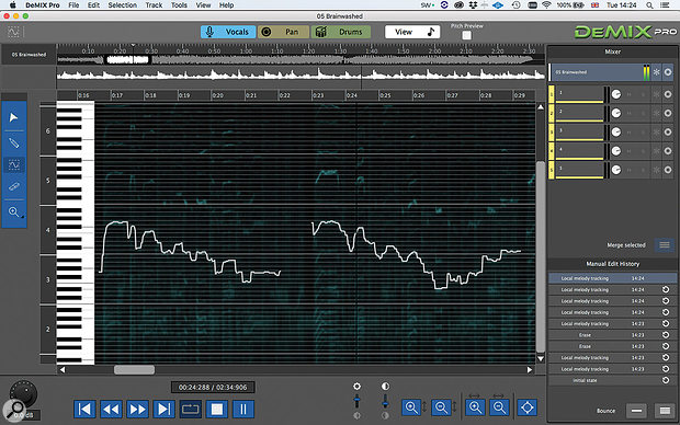 The Melody editor allows you to guide DeMIX Pro, following the contours of the vocal you wish to extract.