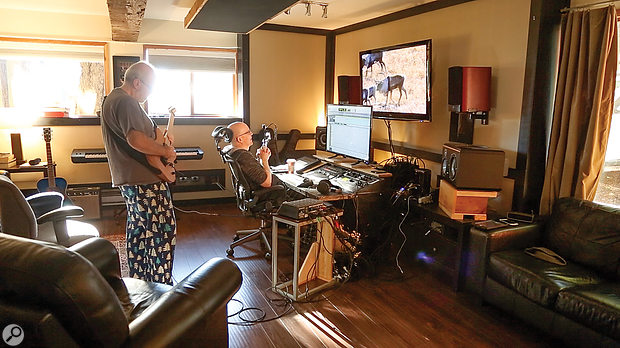 Other elements of Empath were tracked at another Vancouver studio called The Farm, with musical director Mike Keneally (left).