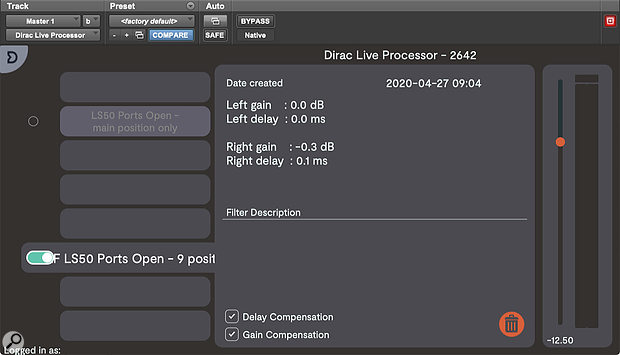 The Dirac Live For Studio plug‑in runs on the monitor output channel in your DAW and applies the correction filters that are calculated through the measurement process.