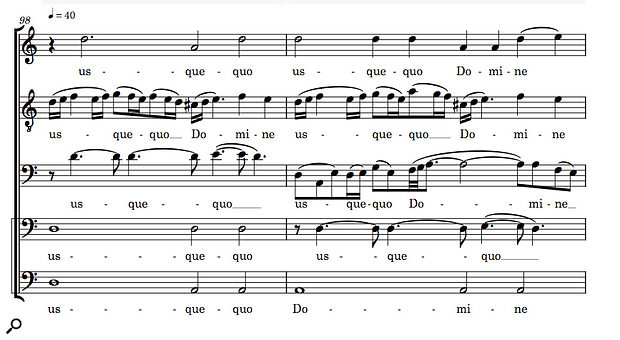 In this five–part vocal composition, Dorico has intelligently condensed the original score (top) to three staves (below) while retaining intelligibility and sensibly positioning the  lyrics.